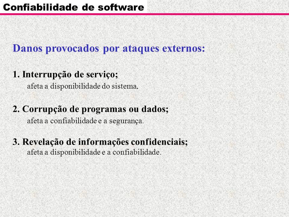Confiabilidade de software Danos provocados por ataques externos: 1. Interrupção de serviço; afeta a disponibilidade do sistema. 2. Corrupção de progr