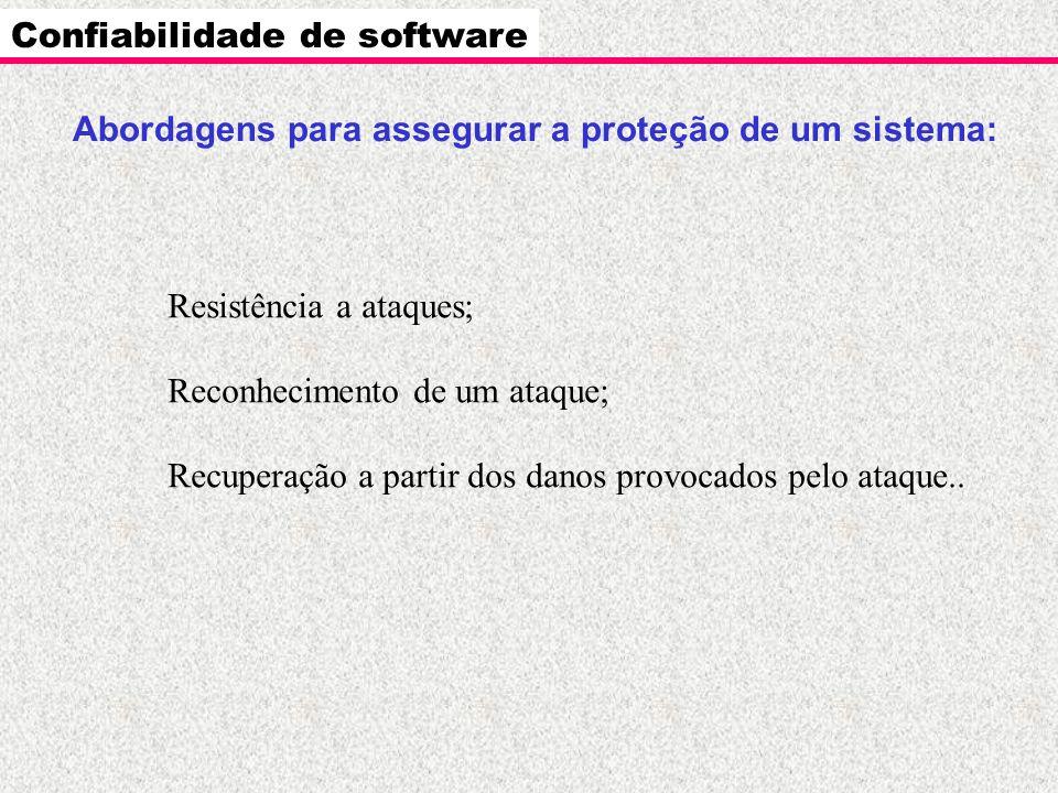 Resistência a ataques; Reconhecimento de um ataque; Recuperação a partir dos danos provocados pelo ataque.. Confiabilidade de software Abordagens para