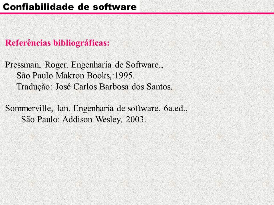 Confiabilidade de software Referências bibliográficas: Pressman, Roger. Engenharia de Software., São Paulo Makron Books,:1995. Tradução: José Carlos B