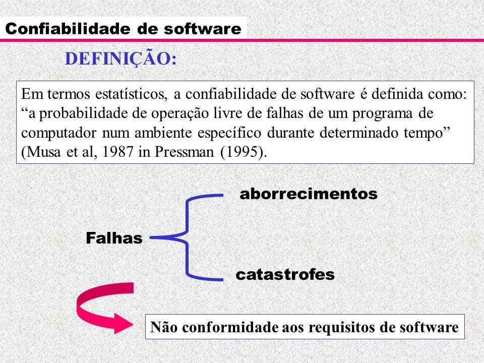 Confiabilidade de software Exemplo: sistema A falha uma vez por ano e leva 3 dias para reiniciar; Sistema B falha uma vez por mês e leva 3 minutos para reiniciar.
