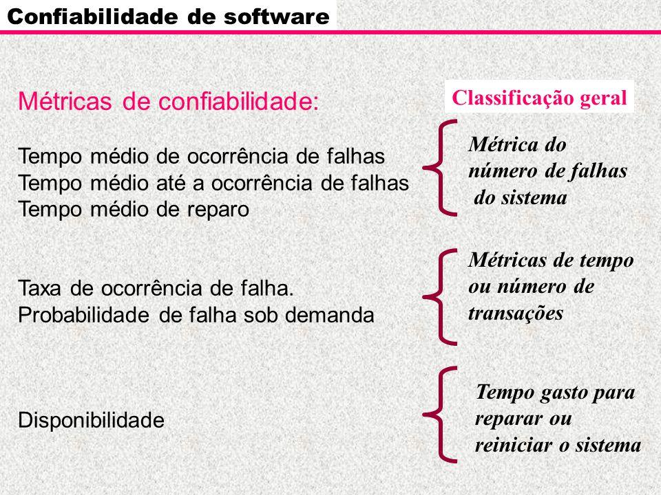 Confiabilidade de software Medidas de confiabilidade e disponibilidade de software MTBF = MTTF + MTTR MTBF – tempo médio de ocorrência de falhas (mean time between failure) MTTF – tempo médio até a ocorrência de falha (mean time to failure) MTTR – tempo médio de reparo (mean time to repair) Disponibilidade = MTTF --------------------------- x 100% (MTTF + MTTR)