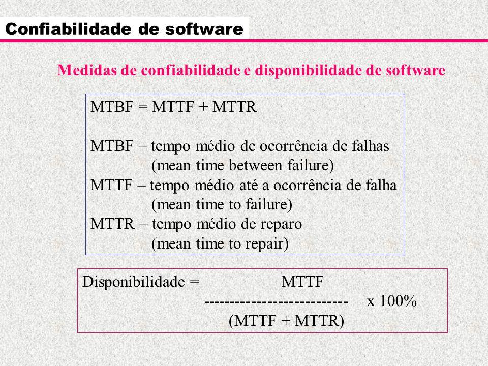 Confiabilidade de software Medidas de confiabilidade e disponibilidade de software MTBF = MTTF + MTTR MTBF – tempo médio de ocorrência de falhas (mean