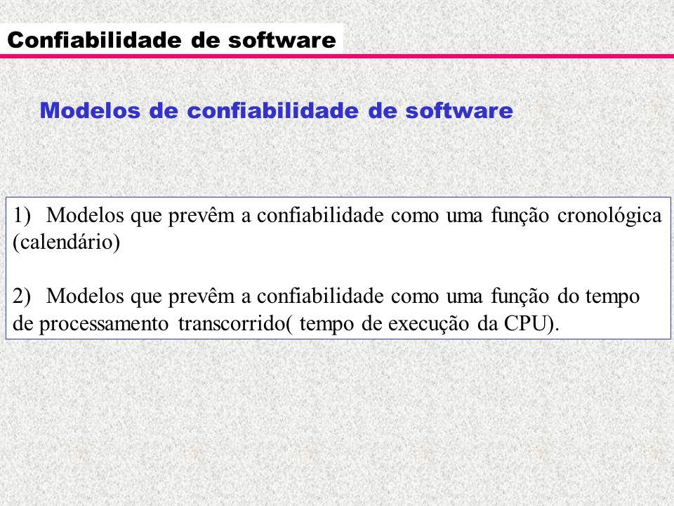 Confiabilidade de software Modelos de confiabilidade de software 1)Modelos que prevêm a confiabilidade como uma função cronológica (calendário) 2)Mode