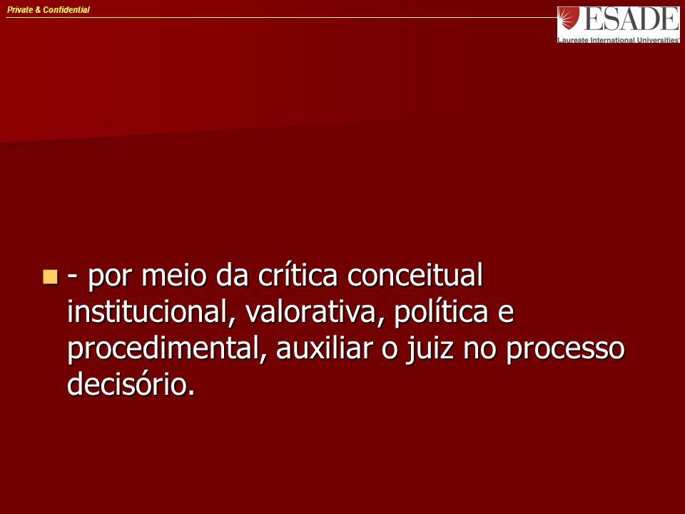 Private & Confidential - por meio da crítica conceitual institucional, valorativa, política e procedimental, auxiliar o juiz no processo decisório. -