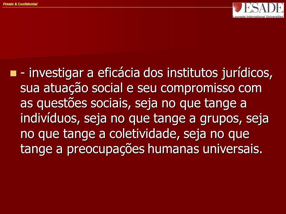 Private & Confidential - investigar a eficácia dos institutos jurídicos, sua atuação social e seu compromisso com as questões sociais, seja no que tange a indivíduos, seja no que tange a grupos, seja no que tange a coletividade, seja no que tange a preocupações humanas universais.