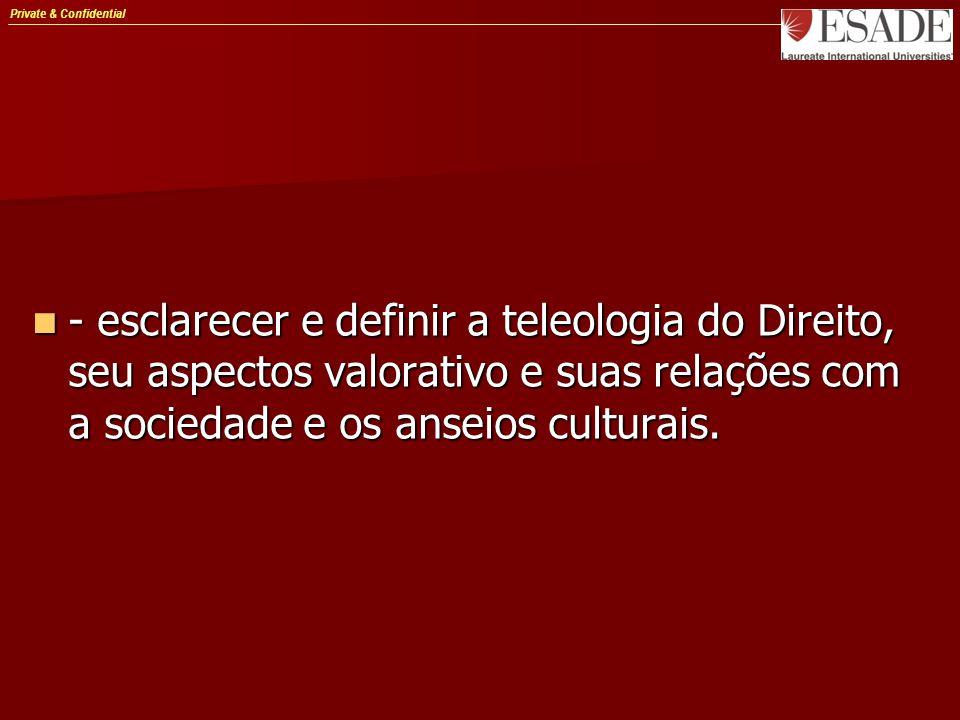 Private & Confidential - esclarecer e definir a teleologia do Direito, seu aspectos valorativo e suas relações com a sociedade e os anseios culturais.