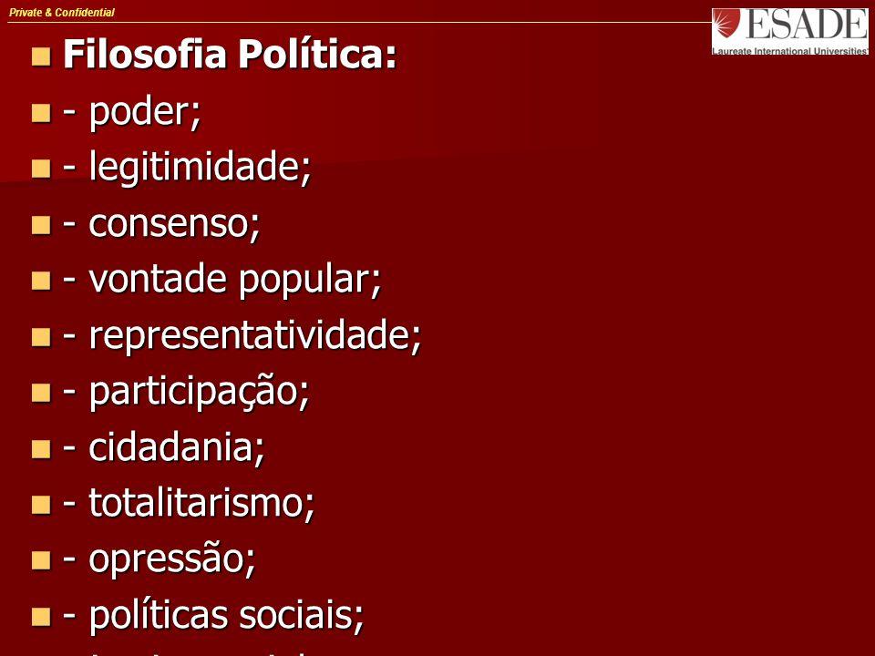 Private & Confidential Filosofia Política: Filosofia Política: - poder; - poder; - legitimidade; - legitimidade; - consenso; - consenso; - vontade pop