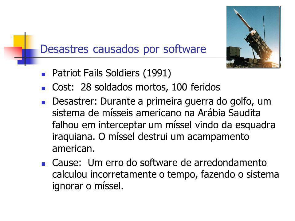 Desastres causados por software Patriot Fails Soldiers (1991) Cost: 28 soldados mortos, 100 feridos Desastrer: Durante a primeira guerra do golfo, um