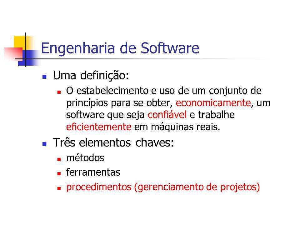 Engenharia de Software Uma definição: O estabelecimento e uso de um conjunto de princípios para se obter, economicamente, um software que seja confiáv