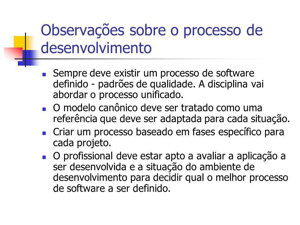 Observações sobre o processo de desenvolvimento Sempre deve existir um processo de software definido - padrões de qualidade. A disciplina vai abordar