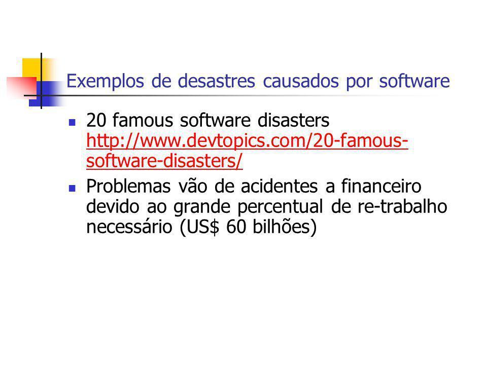 Exemplos de desastres causados por software 20 famous software disasters http://www.devtopics.com/20-famous- software-disasters/ http://www.devtopics.