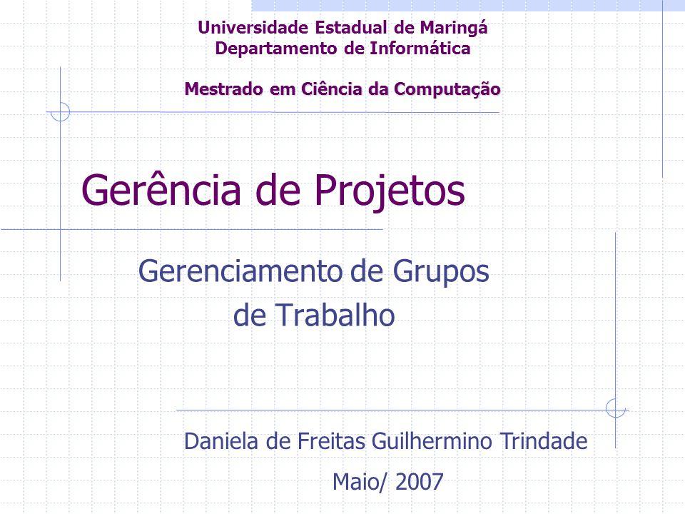 Gerência de Projetos Gerenciamento de Grupos de Trabalho Daniela de Freitas Guilhermino Trindade Maio/ 2007 Mestrado em Ciência da Computação Universi
