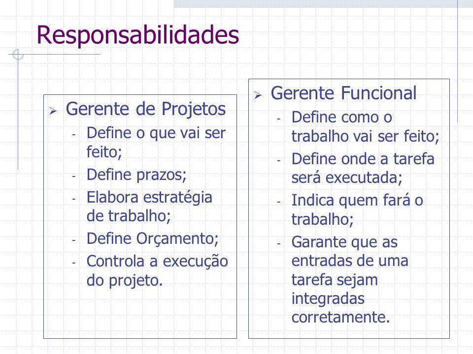 Responsabilidades  Gerente de Projetos - Define o que vai ser feito; - Define prazos; - Elabora estratégia de trabalho; - Define Orçamento; - Control