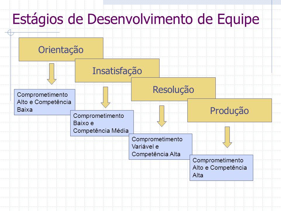 Estágios de Desenvolvimento de Equipe Orientação Insatisfação Resolução Produção Comprometimento Alto e Competência Baixa Comprometimento Baixo e Comp