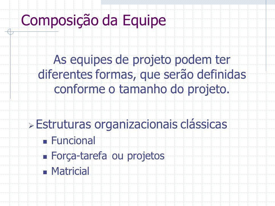Composição da Equipe As equipes de projeto podem ter diferentes formas, que serão definidas conforme o tamanho do projeto.  Estruturas organizacionai