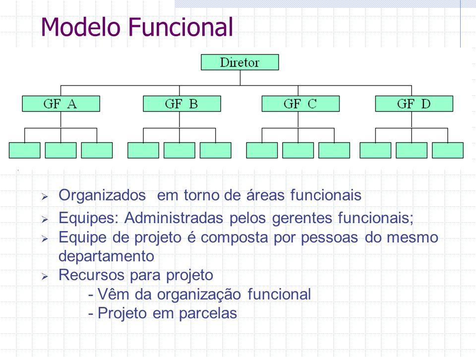 Modelo Funcional  Organizados em torno de áreas funcionais  Equipes: Administradas pelos gerentes funcionais;  Equipe de projeto é composta por pes