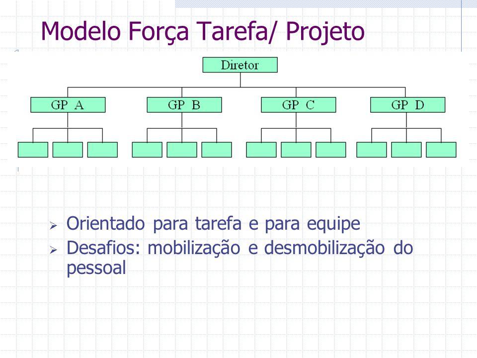  Orientado para tarefa e para equipe  Desafios: mobilização e desmobilização do pessoal Modelo Força Tarefa/ Projeto