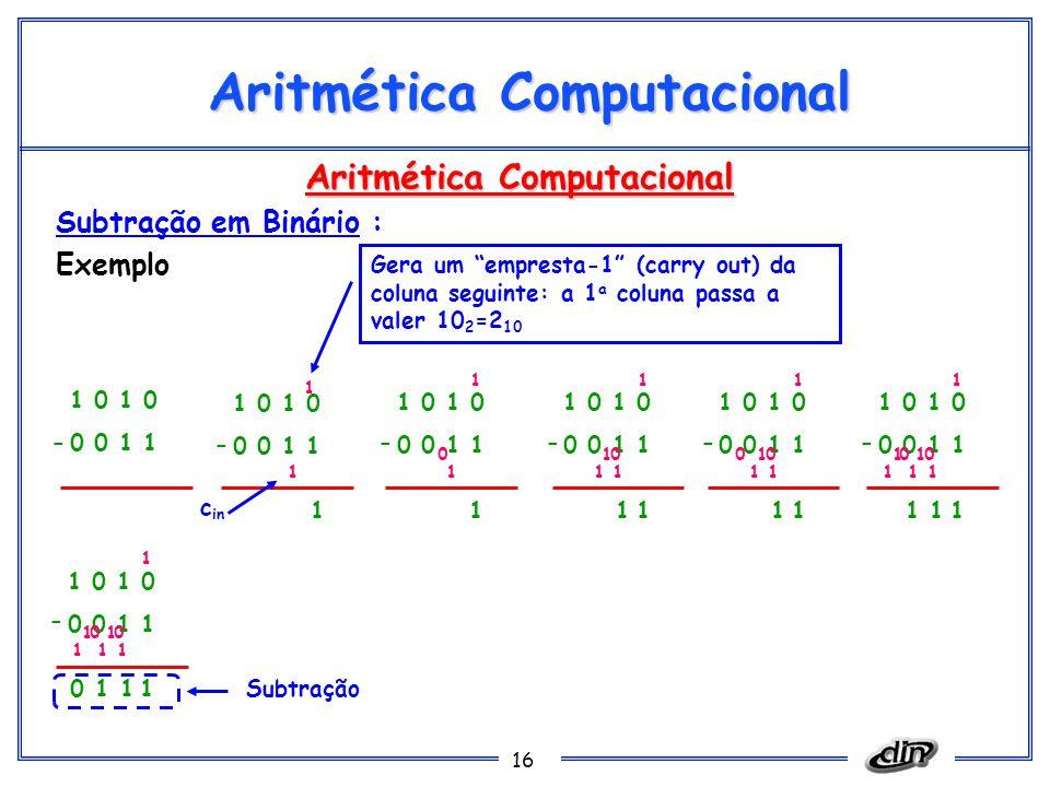 16 Aritmética Computacional Subtração em Binário : Exemplo Gera um empresta-1 (carry out) da coluna seguinte: a 1 a coluna passa a valer 10 2 =2 10 1 0 0 0 1 1 - 1 0 0 0 1 1 - 1 0 0 0 1 1 - 1 1 1 c in Subtração 1 1 1 0 1 0 0 0 1 1 - 1 1 1 01 1 1 1 0 0 0 1 1 - 1 1 1 01 1 1 0 1 0 0 0 1 1 - 1 1 1 01 1 1 01 1 1 1 0 0 0 1 1 - 1 1 1 01 1 1 01 1 10