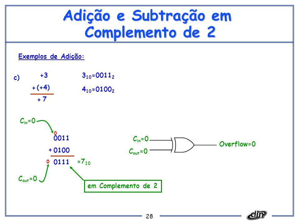 28 Adição e Subtração em Complemento de 2 Exemplos de Adição: c) +3 (+4) 7 3 10 =0011 2 0011 0100 0111 =7 10 0 + C out =0 C in =0 C out =0 Overflow=0