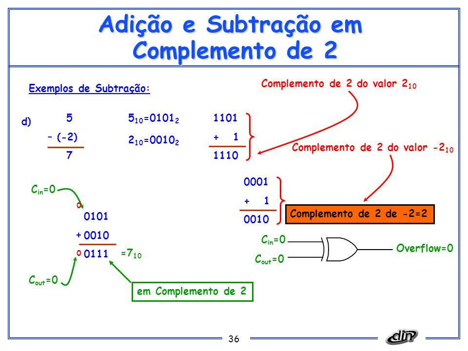 36 Adição e Subtração em Complemento de 2 Exemplos de Subtração: d) 5 (-2) 7 5 10 =0101 2 1101 + 1 1110 Complemento de 2 do valor 2 10 0101 0010 0111