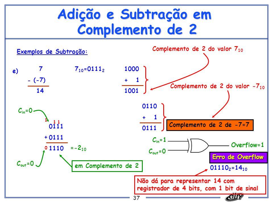 37 Adição e Subtração em Complemento de 2 Exemplos de Subtração: e) 7 (-7) 14 7 10 =0111 2 1000 + 1 1001 Complemento de 2 do valor 7 10 0111 1110 =-2 10 + C out =0 C in =0 C in =1 C out =0 Overflow=1 em Complemento de 2 0 1 - 0110 + 1 0111 Complemento de 2 do valor -7 10 Complemento de 2 de -7=7 11 Erro de Overflow 01110 2 =14 10 Não dá para representar 14 com registrador de 4 bits, com 1 bit de sinal