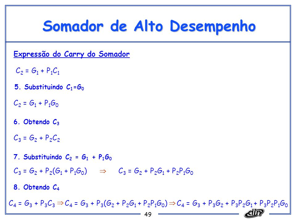49 Somador de Alto Desempenho C 2 = G 1 + P 1 C 1 Expressão do Carry do Somador C 2 = G 1 + P 1 G 0 5. Substituindo C 1 =G 0 6. Obtendo C 3 C 3 = G 2