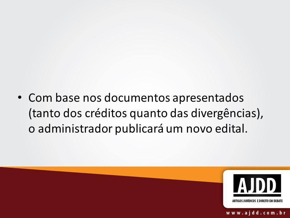 Com base nos documentos apresentados (tanto dos créditos quanto das divergências), o administrador publicará um novo edital.
