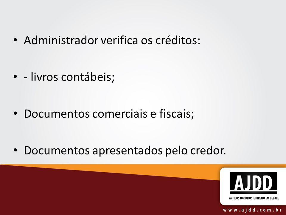 Administrador verifica os créditos: - livros contábeis; Documentos comerciais e fiscais; Documentos apresentados pelo credor.