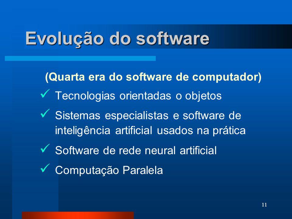 10 Evolução do software (1975 - hoje)  Sistemas distribuídos  Redes locais e globais  Uso generalizado de microprocessadores - produtos inteligente