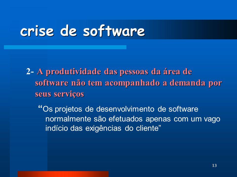 12 crise de software Refere-se a um conjunto de problemas encontrados no desenvolvimento de software: As estimativas de prazo e de custo freqüentement