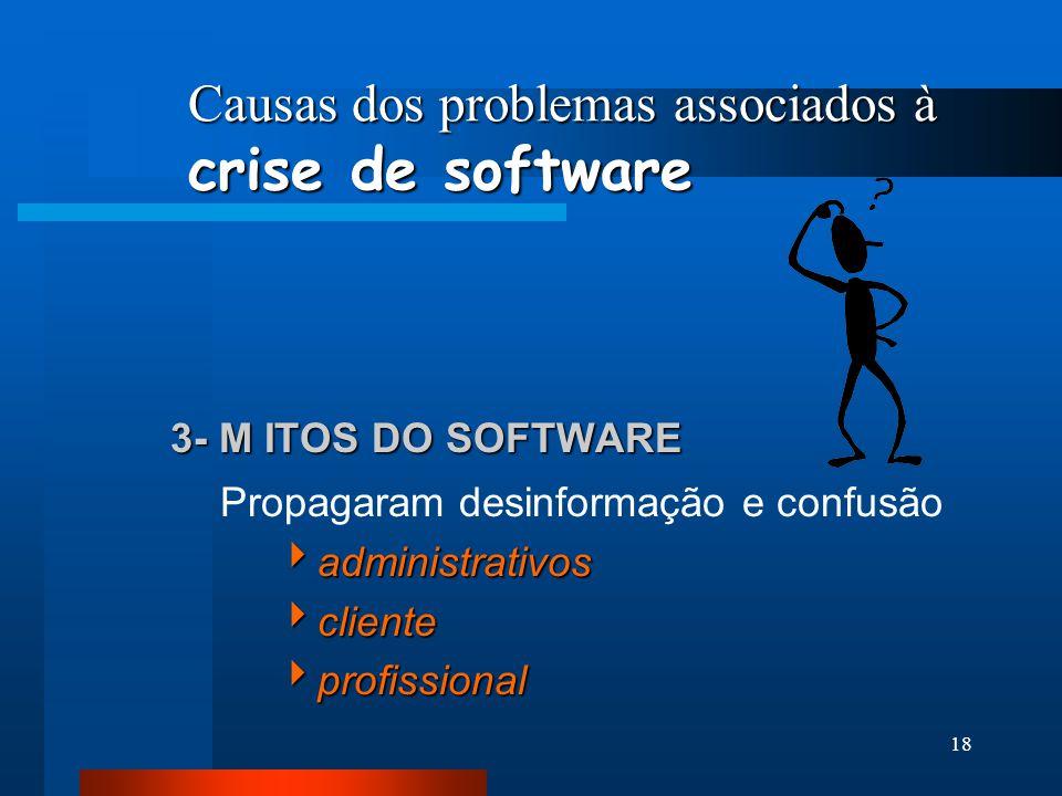 17 Causas dos problemas associados à crise de software 2- FALHAS DAS PESSOAS RESPONSÁVEIS PELO DESENVOLVIMENTO DE SOFTWARE Gerentes sem nenhum backgro