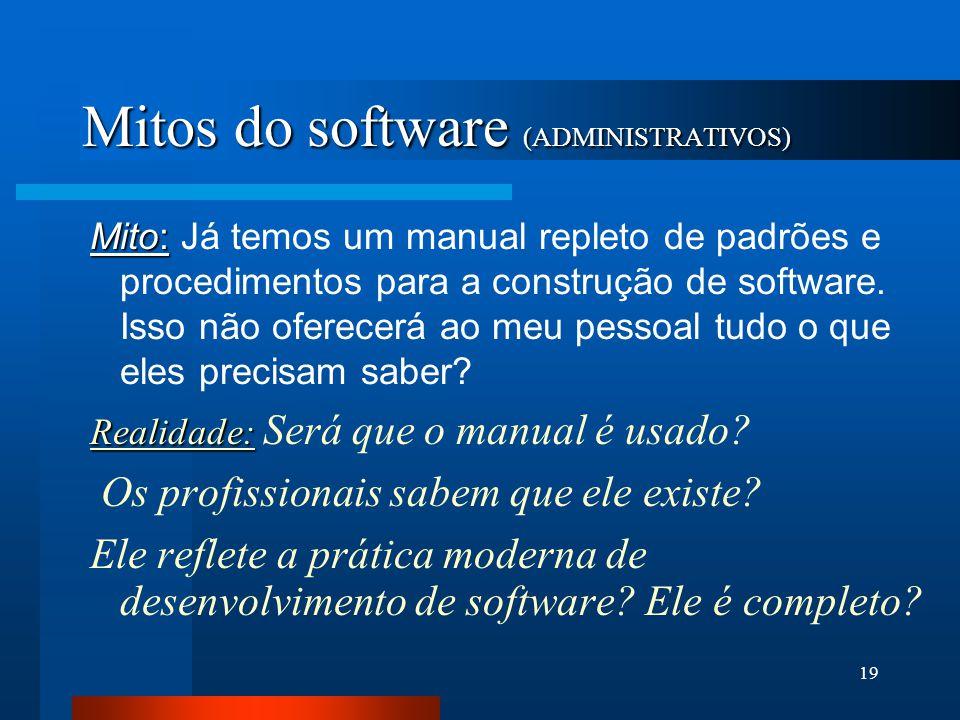 18 Causas dos problemas associados à crise de software 3- M ITOS DO SOFTWARE Propagaram desinformação e confusão  administrativos  cliente  profiss