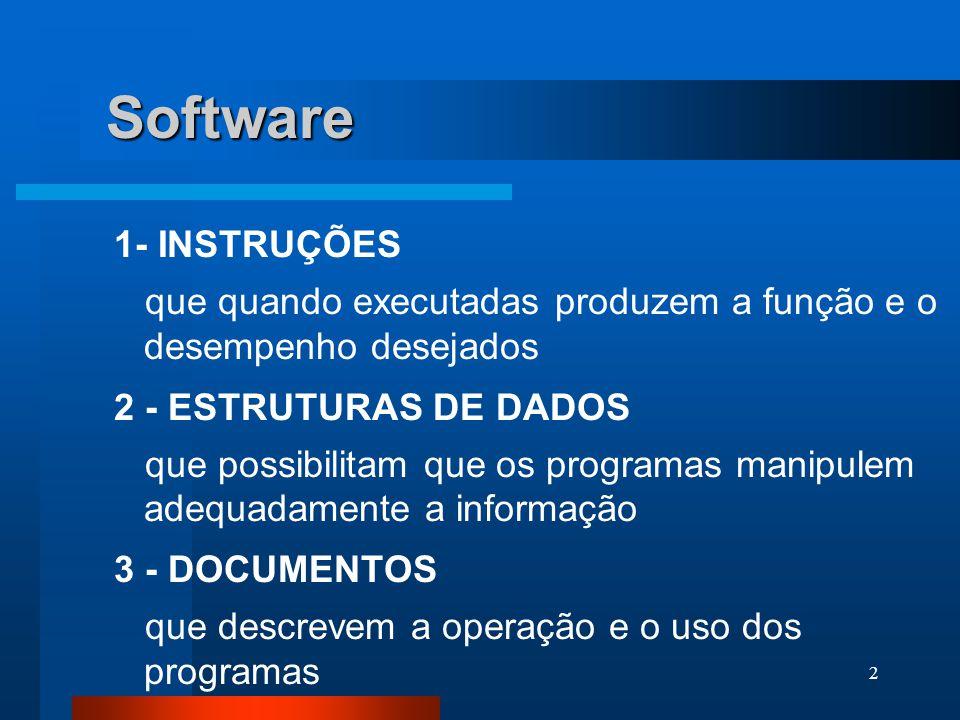 2 Software 1- INSTRUÇÕES que quando executadas produzem a função e o desempenho desejados 2 - ESTRUTURAS DE DADOS que possibilitam que os programas manipulem adequadamente a informação 3 - DOCUMENTOS que descrevem a operação e o uso dos programas