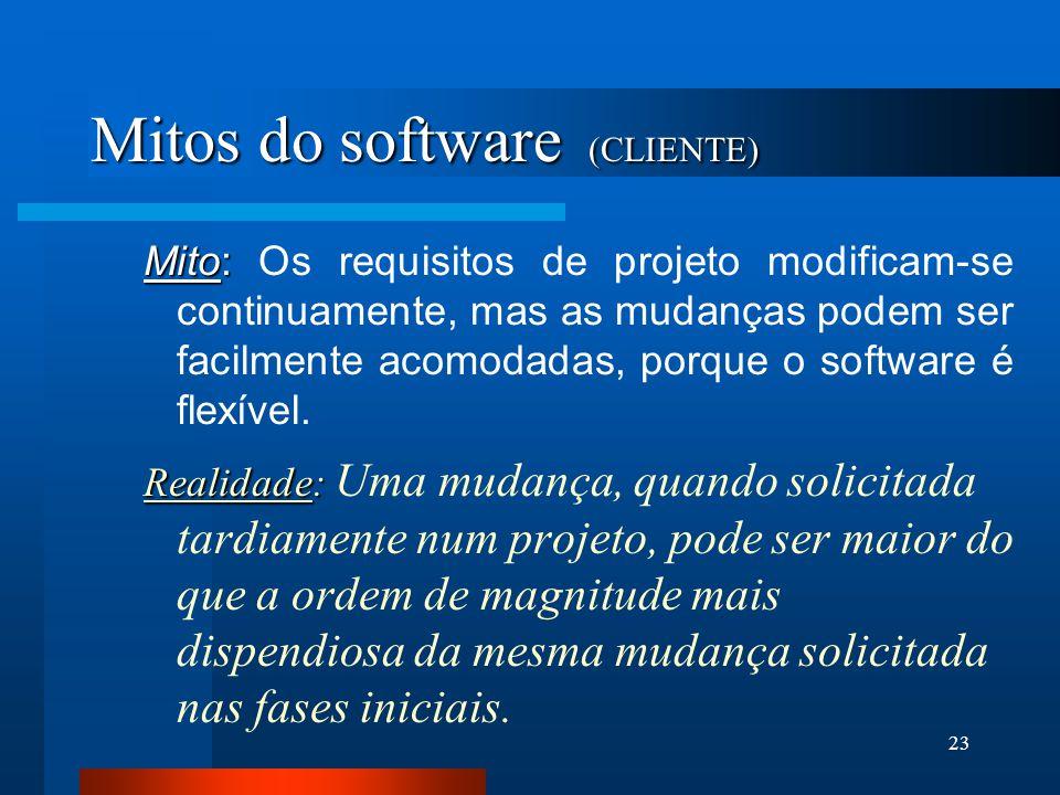 22 Mitos do software (CLIENTE) Mito: Mito: Uma declaração geral dos objetivos é suficiente para se começar a escrever programas - podemos preencher os