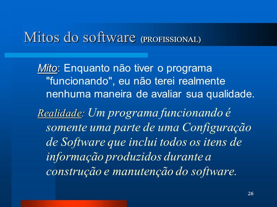 25 Mitos do software ( PROFISSIONAL) Mito: Mito: Assim que escrevermos o programa e o colocarmos em funcionamento nosso trabalho estará completo. Real