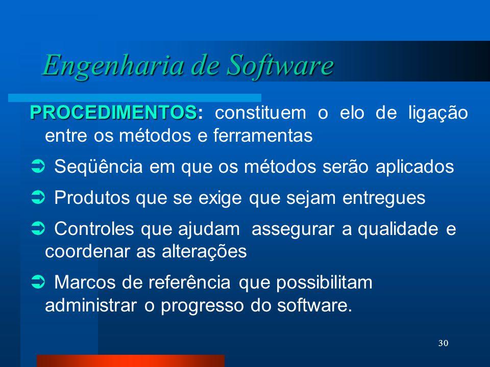 29 Engenharia de Software FERRAMENTAS FERRAMENTAS: dão suporte automatizado aos métodos.  Existem atualmente ferramentas para sustentar cada um dos m