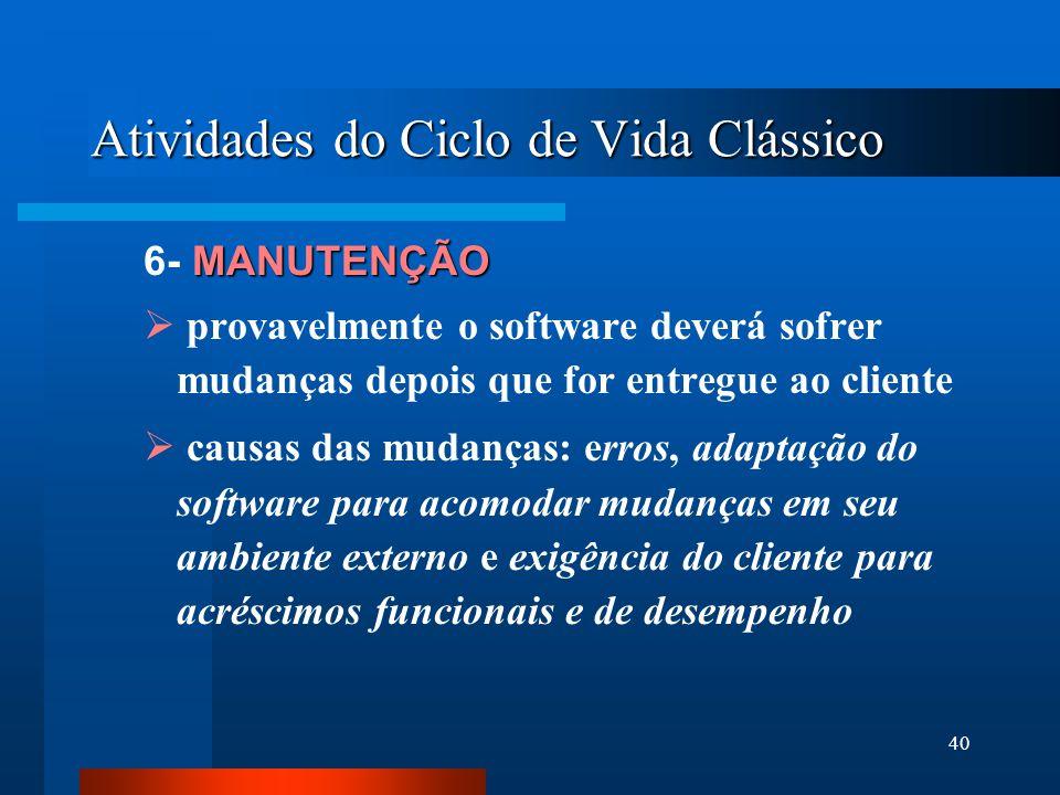 39 Atividades do Ciclo de Vida Clássico TESTES 5- TESTES Concentra-se:  nos aspectos lógicos internos do software, garantindo que todas as instruções