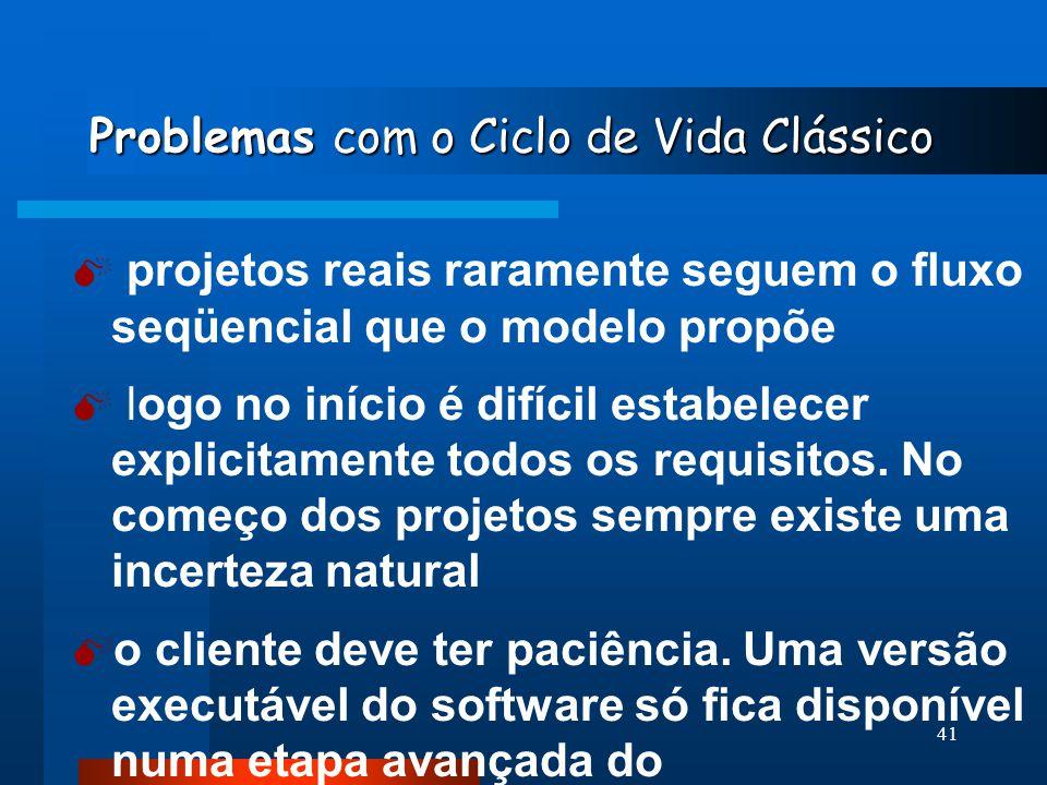 40 Atividades do Ciclo de Vida Clássico MANUTENÇÃO 6- MANUTENÇÃO  provavelmente o software deverá sofrer mudanças depois que for entregue ao cliente