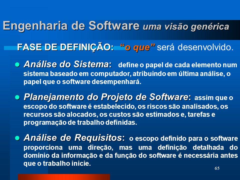 64 Engenharia de Software uma visão genérica O processo de desenvolvimento de software contém 3 fases genéricas, independentes do modelo de engenharia