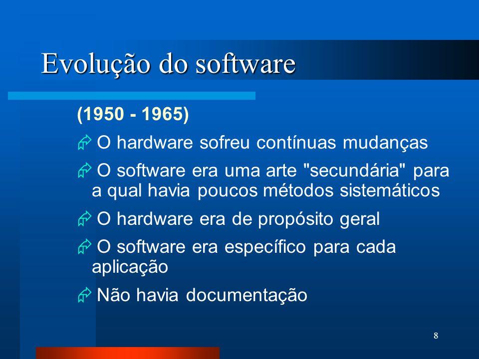 8 Evolução do software (1950 - 1965)  O hardware sofreu contínuas mudanças  O software era uma arte secundária para a qual havia poucos métodos sistemáticos  O hardware era de propósito geral  O software era específico para cada aplicação  Não havia documentação