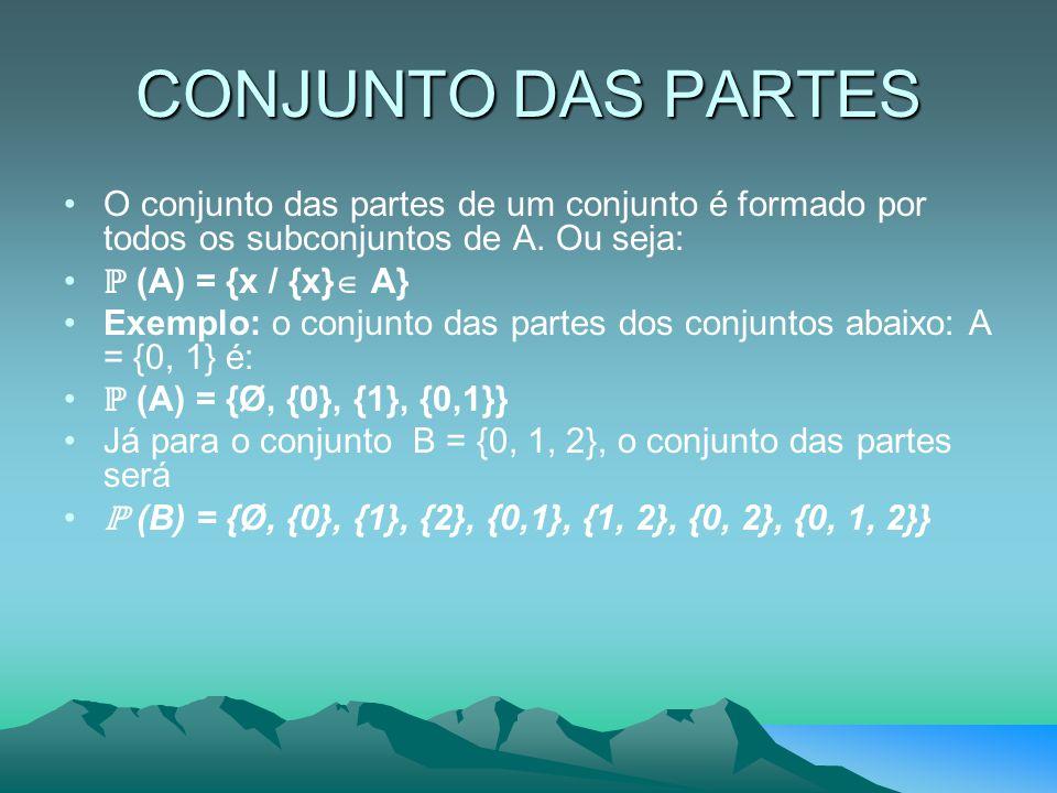CONJUNTO DAS PARTES O conjunto das partes de um conjunto é formado por todos os subconjuntos de A. Ou seja: ℙ (A) = {x / {x}  A} Exemplo: o conjunto