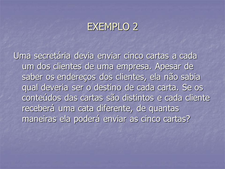 EXEMPLO 2 Uma secretária devia enviar cinco cartas a cada um dos clientes de uma empresa. Apesar de saber os endereços dos clientes, ela não sabia qua