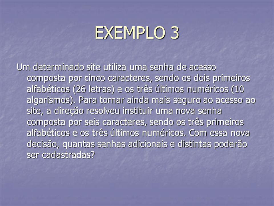 EXEMPLO 3 Um determinado site utiliza uma senha de acesso composta por cinco caracteres, sendo os dois primeiros alfabéticos (26 letras) e os três últ
