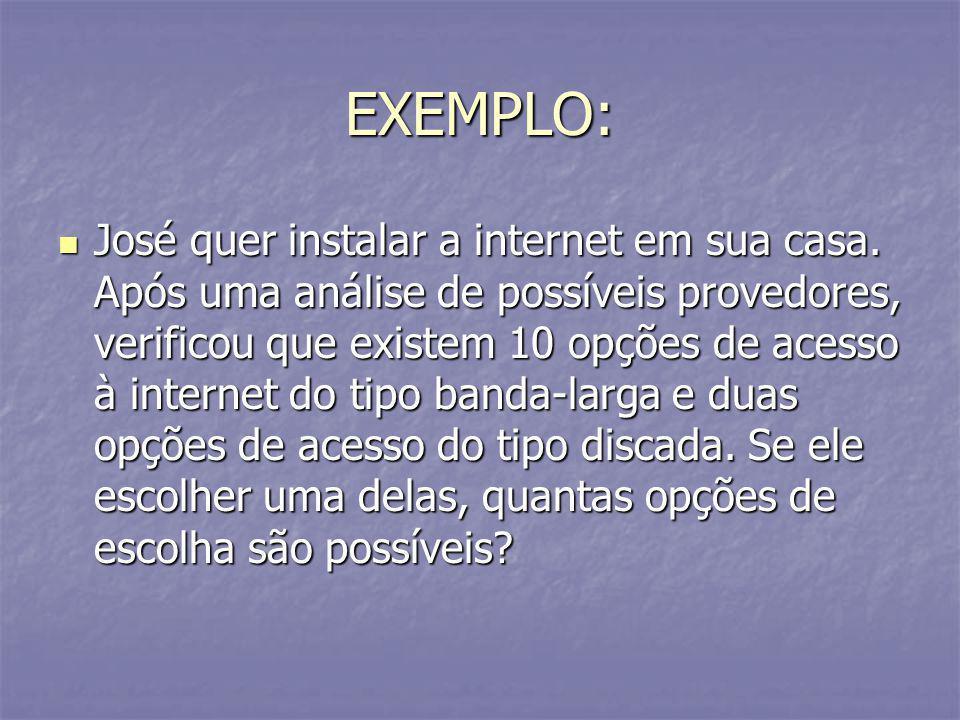EXEMPLO: José quer instalar a internet em sua casa. Após uma análise de possíveis provedores, verificou que existem 10 opções de acesso à internet do