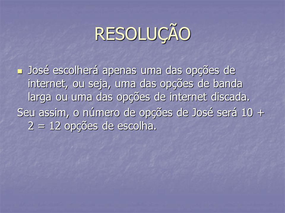 RESOLUÇÃO José escolherá apenas uma das opções de internet, ou seja, uma das opções de banda larga ou uma das opções de internet discada. José escolhe