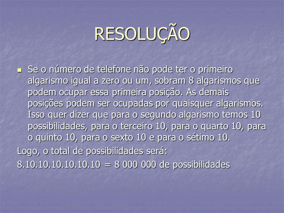 RESOLUÇÃO Se o número de telefone não pode ter o primeiro algarismo igual a zero ou um, sobram 8 algarismos que podem ocupar essa primeira posição. As
