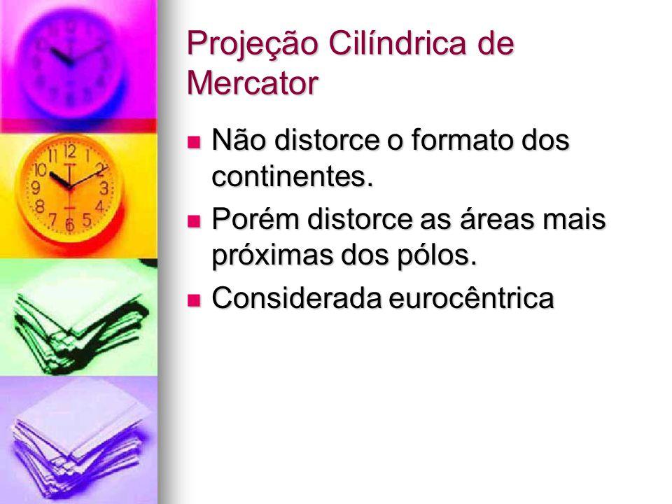 Projeção Cilíndrica de Mercator Não distorce o formato dos continentes.