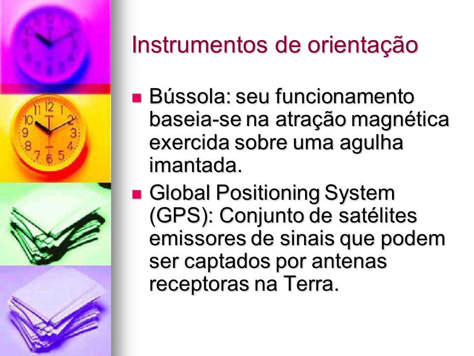 Instrumentos de orientação Bússola: seu funcionamento baseia-se na atração magnética exercida sobre uma agulha imantada.