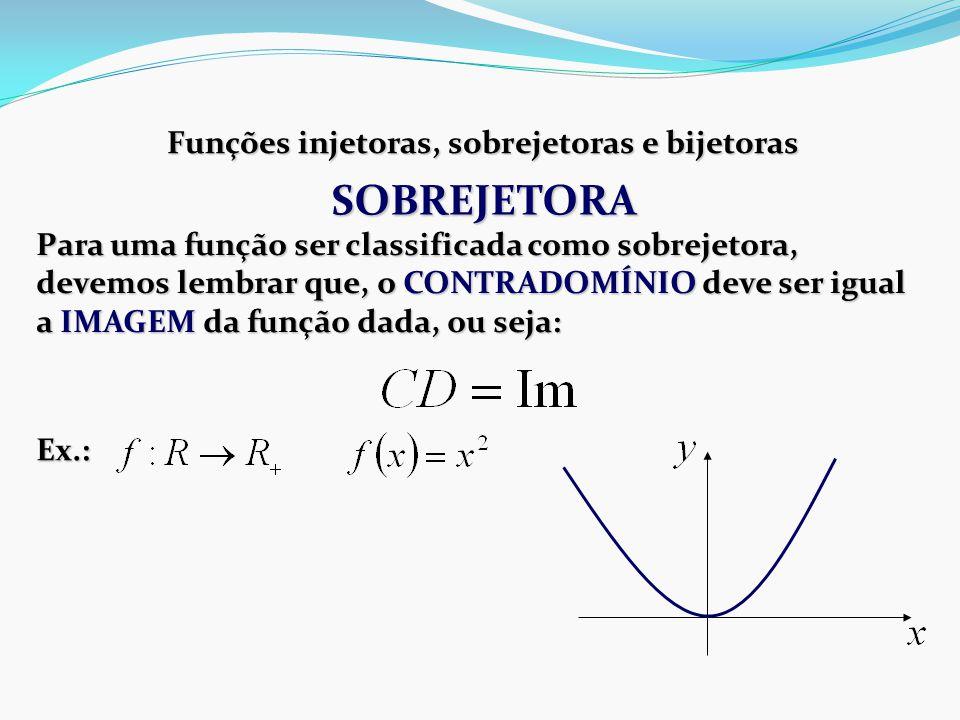 Funções injetoras, sobrejetoras e bijetoras Para uma função ser classificada como sobrejetora, devemos lembrar que, o CONTRADOMÍNIO deve ser igual a IMAGEM da função dada, ou seja: Ex.: SOBREJETORA