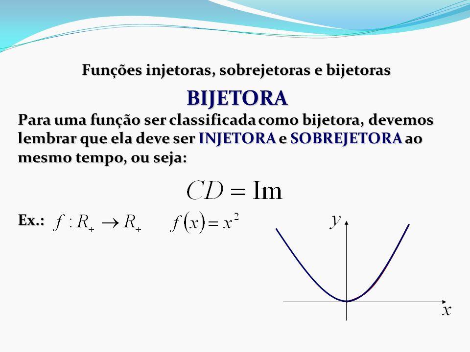 Funções injetoras, sobrejetoras e bijetoras Para uma função ser classificada como bijetora, devemos lembrar que ela deve ser INJETORA e SOBREJETORA ao mesmo tempo, ou seja: Ex.: BIJETORA